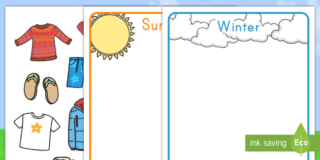 Winter and Summer Clothes Sorting Activity - English (United States) - winter, summer, clothes, sorting, activity