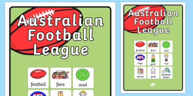 Australian Football League Vocabulary Poster - AFL, sport, poster