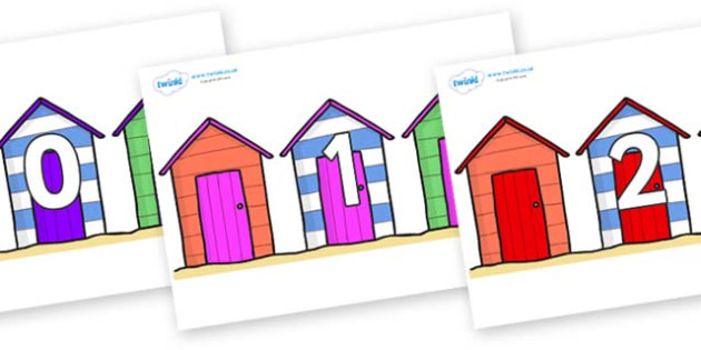 Numbers 0-100 on Beach Huts - 0-100, foundation stage numeracy, Number recognition, Number flashcards, counting, number frieze, Display numbers, number posters