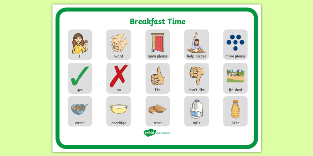 Breakfast Time Communication Board - ASD, autism, early years, low functioning, PECS, communication board, functional communication