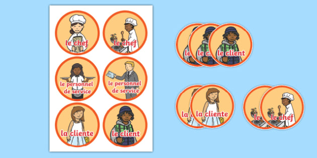 Pizza parlour role play badges French
