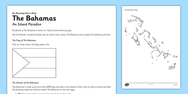 The Bahamas: An Island Paradise Worksheet / Activity Sheet - bahamas, island, paradise, activity, worksheet