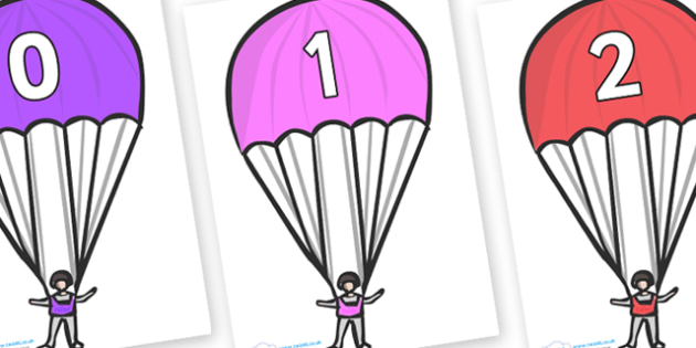 Numbers 0-100 on Parachutes - 0-100, foundation stage numeracy, Number recognition, Number flashcards, counting, number frieze, Display numbers, number posters