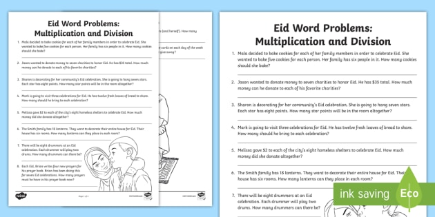 Eid Word Problems Multiplication And Division Worksheet