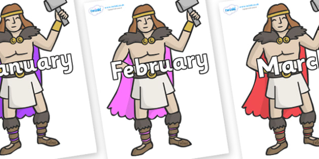 Months of the Year on Viking Warriors - Months of the Year, Months poster, Months display, display, poster, frieze, Months, month, January, February, March, April, May, June, July, August, September