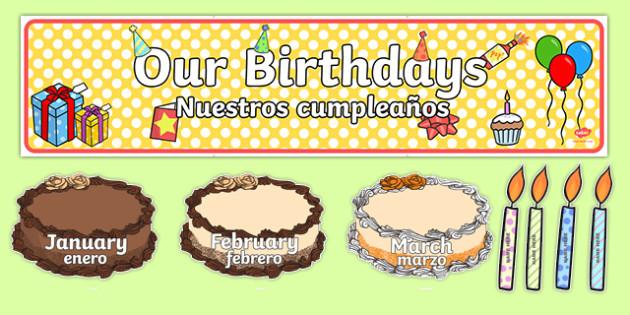 Wondrous Editable Birthday Display Set Cakes Spanish Translation Translation Funny Birthday Cards Online Inifodamsfinfo