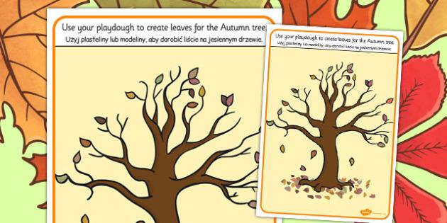 Autumn Tree Playdough Mat Polish Translation - polish, autumn