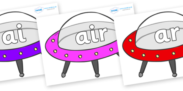 Phase 3 Phonemes on Spaceships - Phonemes, phoneme, Phase 3, Phase three, Foundation, Literacy, Letters and Sounds, DfES, display