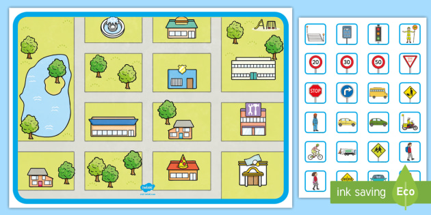 build a busy town map road map street map campsite