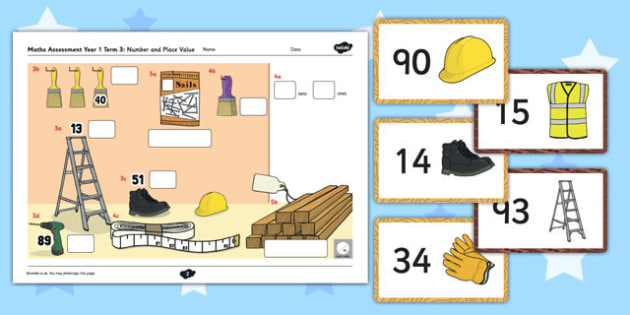 Year 1 Maths Assessment Number and Place Value Term 3 - progress, maths, numeracy, ks1, key stage 1, marking, test, objectives, curriculum, national, summer, counting, order, tens, ones, units, hundreds
