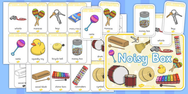 Noisy Box Label and Noise Makers Pictures Pack - noisy box, label