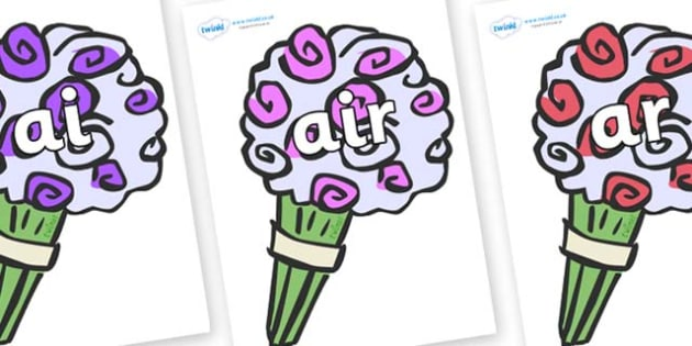 Phase 3 Phonemes on Bouquets - Phonemes, phoneme, Phase 3, Phase three, Foundation, Literacy, Letters and Sounds, DfES, display