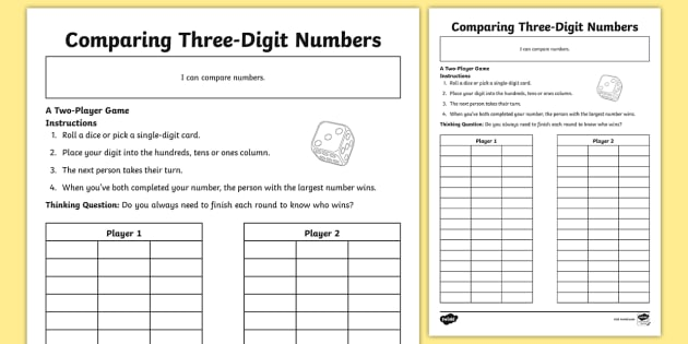 Comparing Three-Digit Numbers Worksheet / Worksheet - game, fun ...