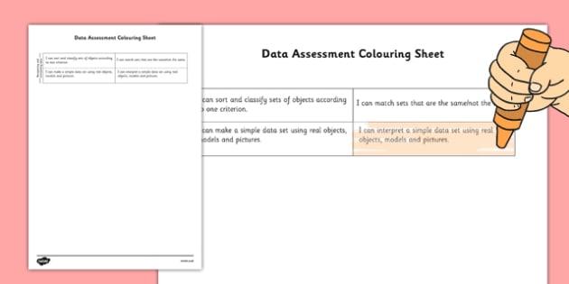 1999 Curriculum Senior Infants Maths Data Assessment Group Colouring Sheet - roi, irish, gaeilge, assessment checklist, maths, senior infants, data