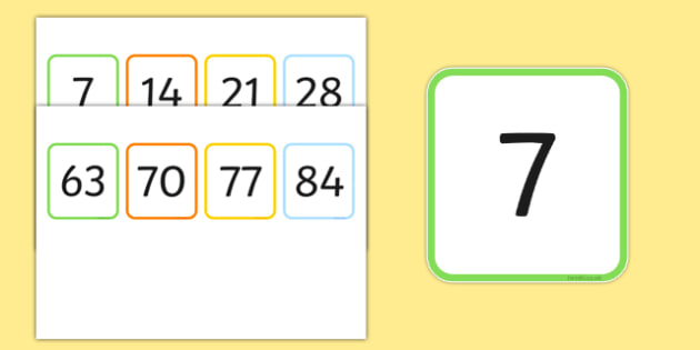 Multiples of 7 Flash Cards - multiples, counting, times table, count, multiplication, division, flash cards, 7