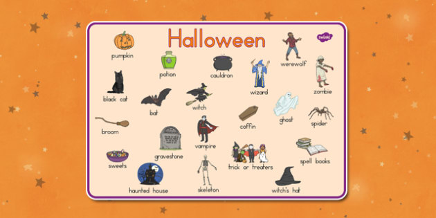 Halloween Word Mat - english, language, visual aid, ks1, ks2, key stage 1, key stage 2