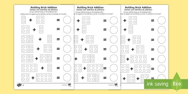 building brick addition worksheet worksheet english spanish eal building. Black Bedroom Furniture Sets. Home Design Ideas
