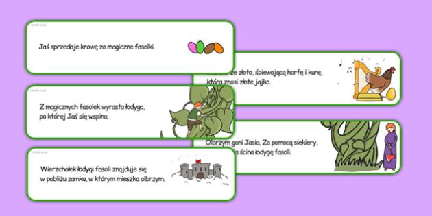 Wytnij i przyklej w kolejności Jaś i magiczna fasola po polsku