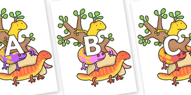 A-Z Alphabet on Reptiles to Support Teaching on The Great Pet Sale - A-Z, A4, display, Alphabet frieze, Display letters, Letter posters, A-Z letters, Alphabet flashcards