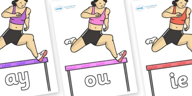 Phase 5 Phonemes on Olympic Hurdles - Phonemes, phoneme, Phase 5, Phase five, Foundation, Literacy, Letters and Sounds, DfES, display