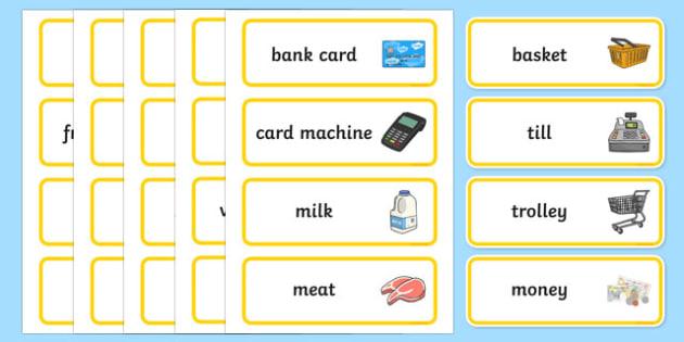 Supermarket Word Cards - supermarket, word, cards, word cards