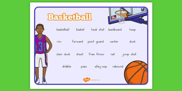 Basketball Vocabulary Mat - usa, nba, basketball, national basketball association, vocabulary mat