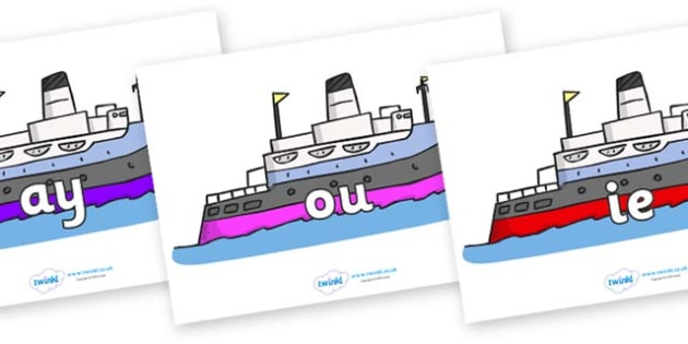 Phase 5 Phonemes on Boats - Phonemes, phoneme, Phase 5, Phase five, Foundation, Literacy, Letters and Sounds, DfES, display