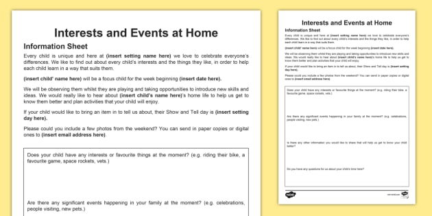 Interests And Events At Home Parents Letter