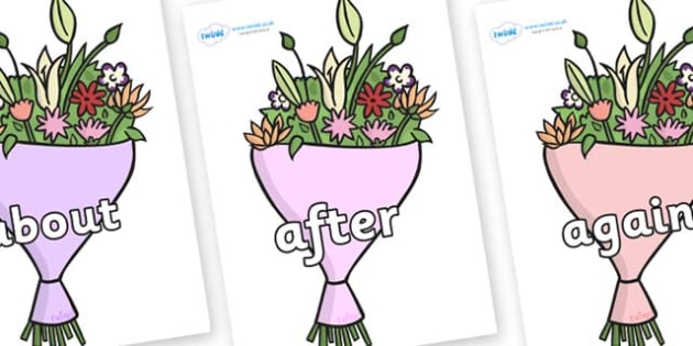 KS1 Keywords on Bouquets - KS1, CLL, Communication language and literacy, Display, Key words, high frequency words, foundation stage literacy, DfES Letters and Sounds, Letters and Sounds, spelling