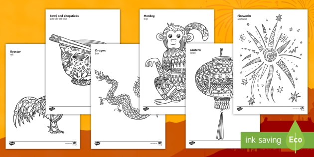 chinese new year mindfulness colouring worksheet worksheets english hindi. Black Bedroom Furniture Sets. Home Design Ideas