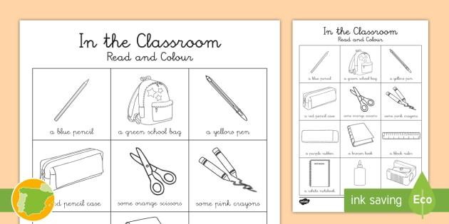 Lee y colorea: Objetos de la clase en inglés (12 palabras) - colorear, colores, objetos de clase, escuela, comprensión lectora, Spanish