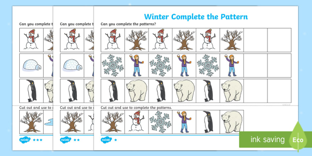 Winter Themed Complete the Pattern Worksheet / Activity Sheet