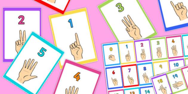 British Sign Language 0-20 Number Display Borders (Signer's View) - display