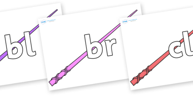 Initial Letter Blends on Wands - Initial Letters, initial letter, letter blend, letter blends, consonant, consonants, digraph, trigraph, literacy, alphabet, letters, foundation stage literacy