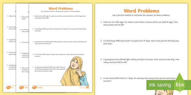 Long Division Word Problems Differentiated Worksheets - Worksheets ...