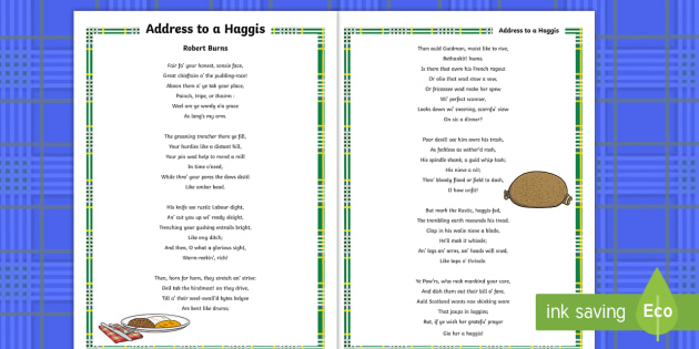 Address To A Haggis Display Poster Display Posters A4