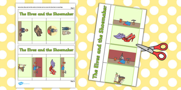The Elves and the Shoemaker Story Writing Flap Book - story