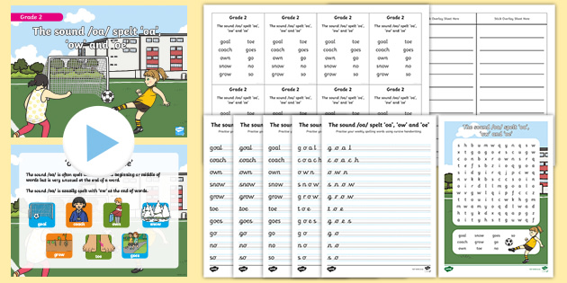 Grade 2 Phonics -ow, -oa and -oe Spelling Pack