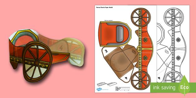 3D Roman Chariot Paper Model - 3d, roman chariot, roman, chariot, paper model, paper craft, paper, model, craft, activity