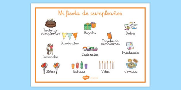 Tapiz de vocabulario Mi fiesta de cumpleaños - fiesta, cumpleaños, vocabulario, tapiz