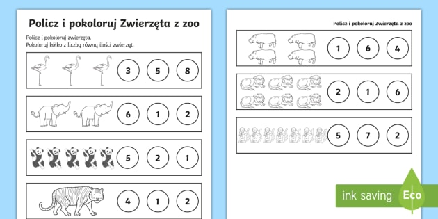 Karta pracy Policz i pokoloruj Zwierzęta z zoo