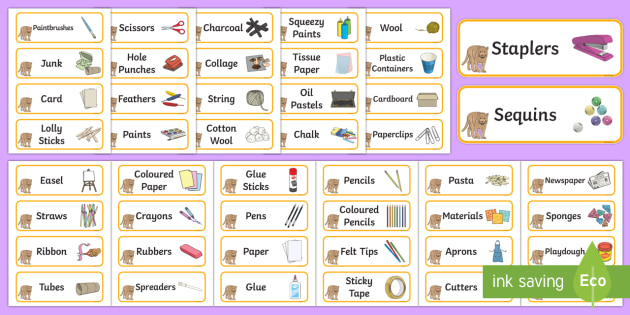 Puma Themed Editable Creative Area Resource Labels - Themed creative resource labels, Label template, Resource Label, Name Labels, Editable Labels, Drawer Labels, KS1 Labels, Foundation Labels, Foundation Stage Labels