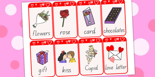 Valentines Day Flashcards  valentines day visual aid