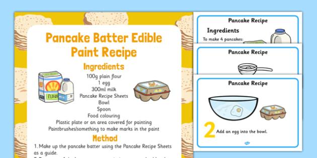 Pancake Batter Edible Paint Recipe - shrove Tuesday, pancake batter, pancake, batter, recipe, paint