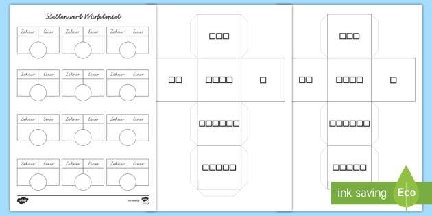 Stellenwert Würfelspiel und Arbeitsblatt - Mathe, Zahlen
