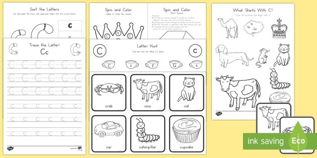letter c activity pack alphabet packets letter c letter recognition. Black Bedroom Furniture Sets. Home Design Ideas