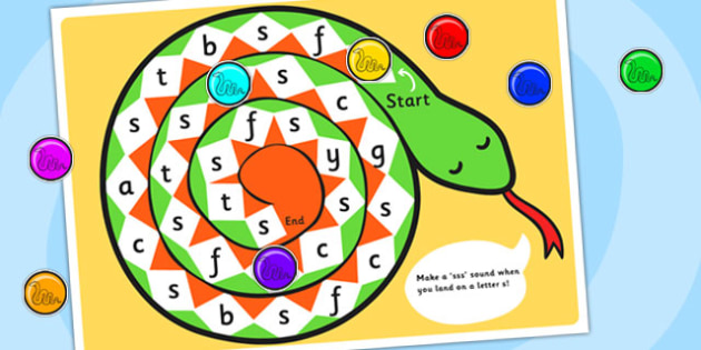 s Sound Production Snake Board Game Letters - s sound, s, sound production, board game, classroom game, letter games, word games, s games, games, letters