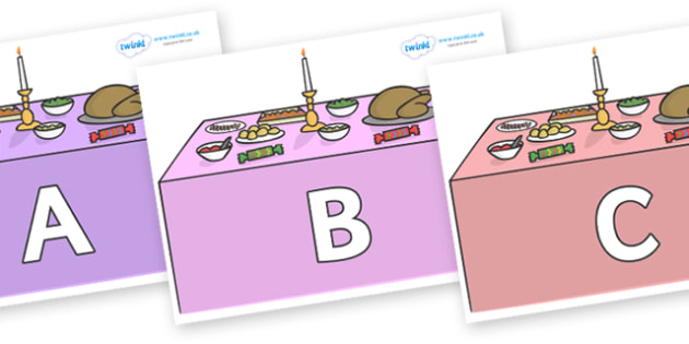A-Z Alphabet on Christmas Dinner (Tables) - A-Z, A4, display, Alphabet frieze, Display letters, Letter posters, A-Z letters, Alphabet flashcards
