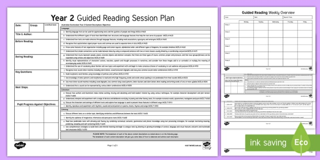 Year  Australian Curriculum Guided Reading Session Planning