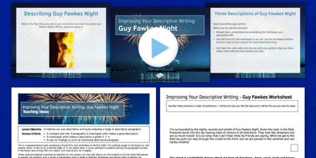 Guy Fawkes Night Descriptive Writing Lesson Pack - guy fawkes, night, writing, lesson pack